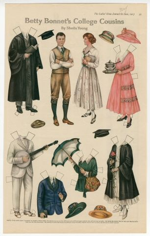 Betty Bonnet's College Cousins paper doll 1917 Artist : Sheila Young