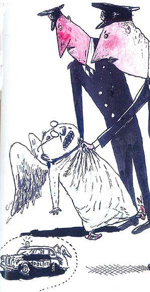 Ilustración  de Per Dybvig para la obra Angelson H y el ultimátum, de Kim Fupz Aakeson.