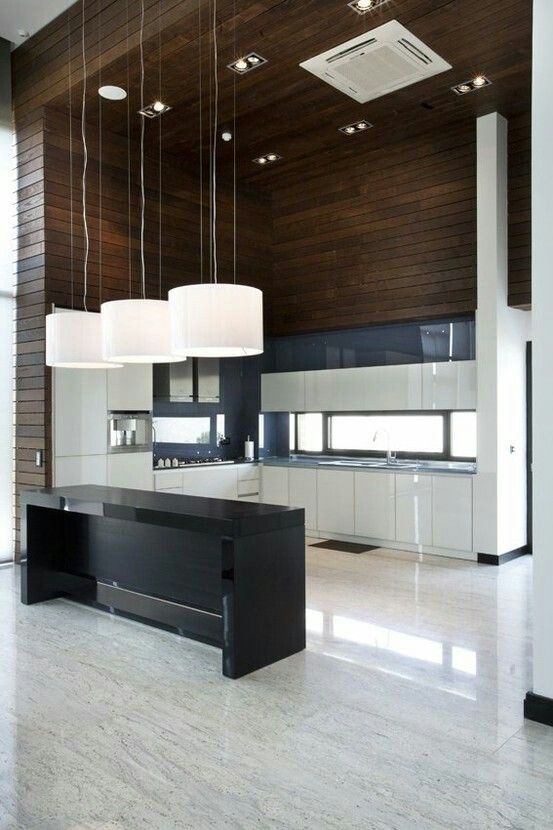 Awesome Contrast With The Dark Rustic Woods To The Sleek Modern Kitchen.  Just Wish Those Lights And Vent Werenu0027t So Glaringly Designs Decorating  Before ... Part 19