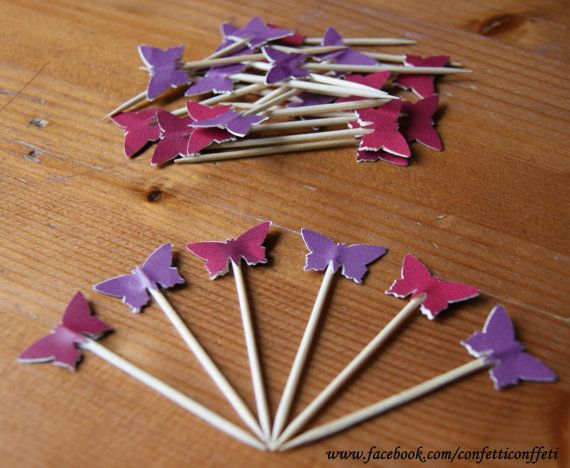24 x Purple & Red Mix Butterfly Cupcake by ConfettiConffeti, $4.80