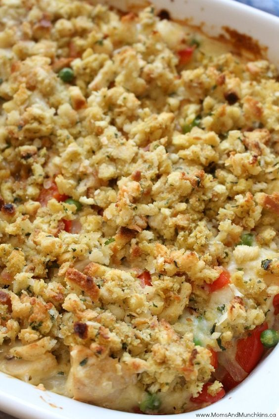 This Chicken Pot Pie with Stuffing Crust is the perfect comfort food on a cold day. I use the boxed stuffing mix because I love the seasoning in it.