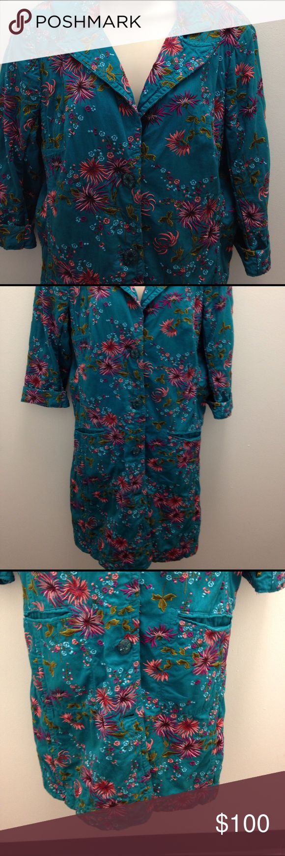 """Johnny Was Teal Embroidered Long Blazer Jacket Johnny Was Teal Embroidered long blazer jacket. Sz L. Pre-owned and in great condition. Armpit to armpit- 20"""" / waist - 18"""" / length- 40"""" Johnny Was Jackets & Coats Blazers"""