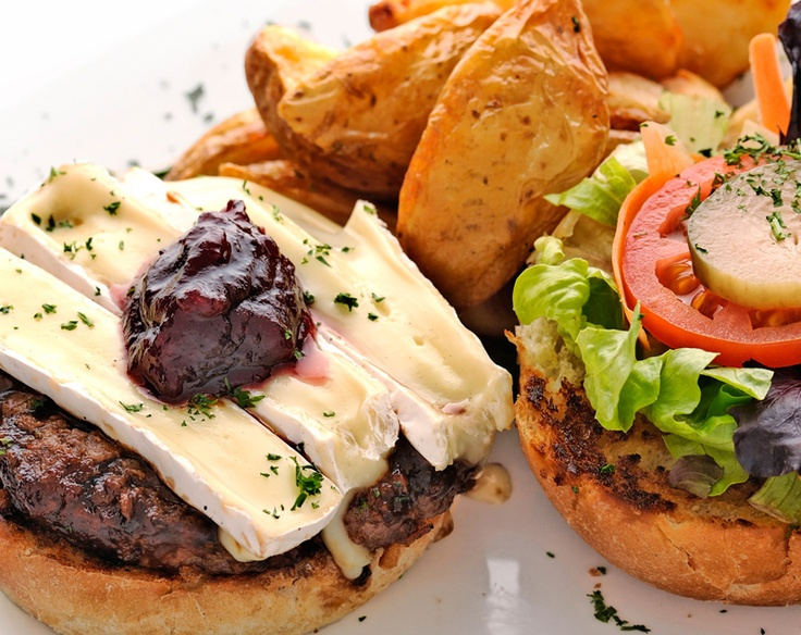 One of the house favourites - the Monte Carlo burger (beef, ostrich, chicken or veggie patty) topped with creamy brie and cranberry