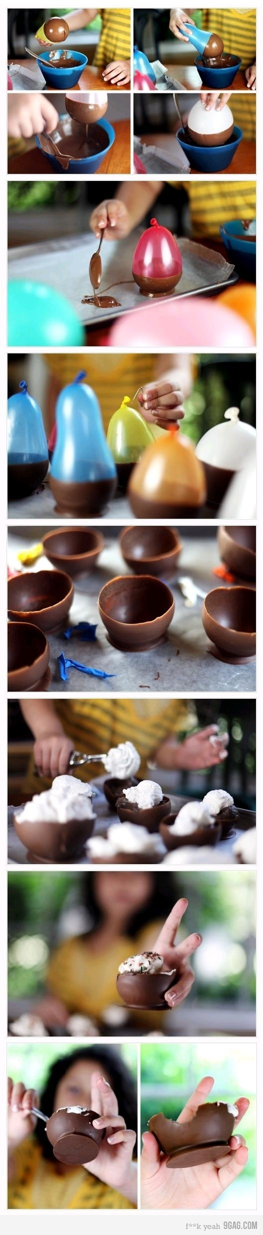 Chocolate Bowls! --Hell yes, I want to do this for one of the Supper Clubs!