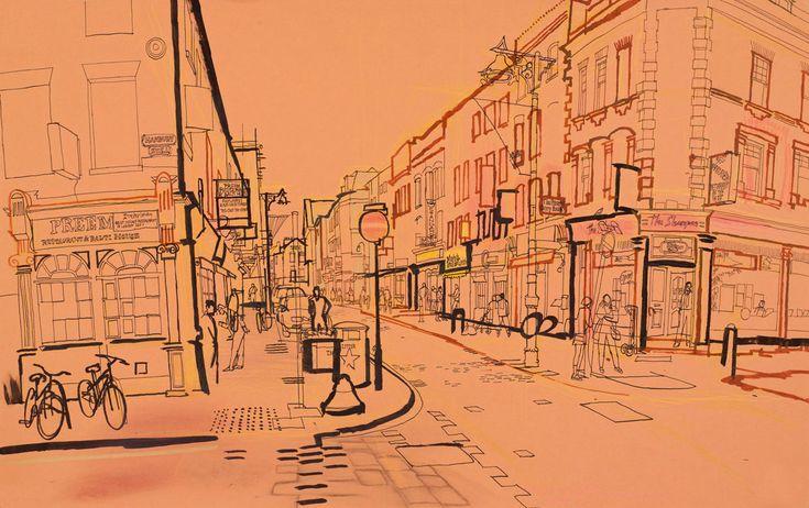 lucinda rogers drawing ink watercolour london life street scene city brick lane spitalfields bicycle