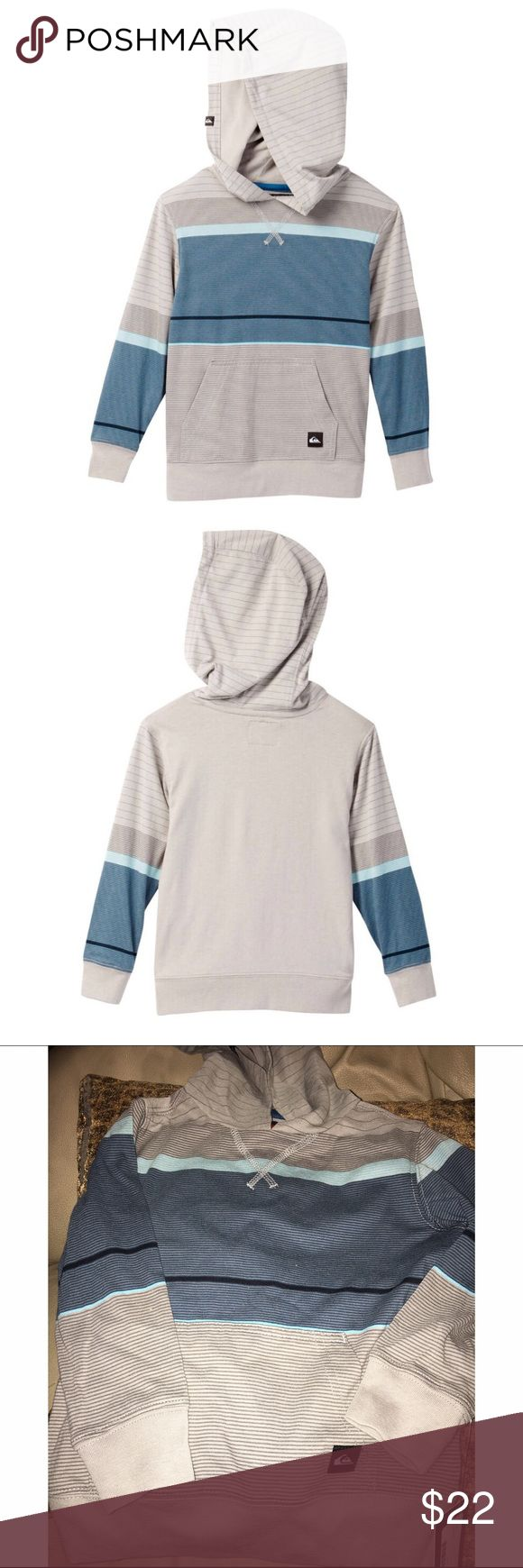 Boy's Quiksilver Moto Stripe L/S Hooded Pullover Brand new with tags. Toddler boy's Quiksilver moto stripe long sleeve hooded pullover. Attached hood, all over moto stripe print, front kangaroo pocket, ribbed trim. 60% cotton, 40% polyester. Size 2T. Lightweight and cozy. ❌NO TRADES ❌NO LOWBALLING❌ Quiksilver Shirts & Tops Sweatshirts & Hoodies