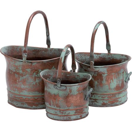 Three bronze planters with verdigris finishes.     Product: Small, medium and large planterConstruction Material: Meta...