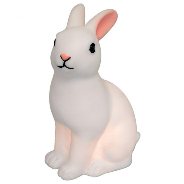 Adorable veilleuse en forme de lapin. Piles incluses.