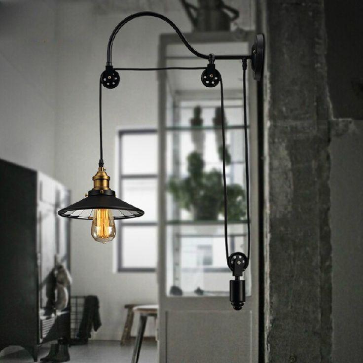 Stile europeo ferro ricordava retrò industria rurale puleggia di sollevamento luce del pendente americano ristorante bar specchietto interno lampada a sospensione(China (Mainland))