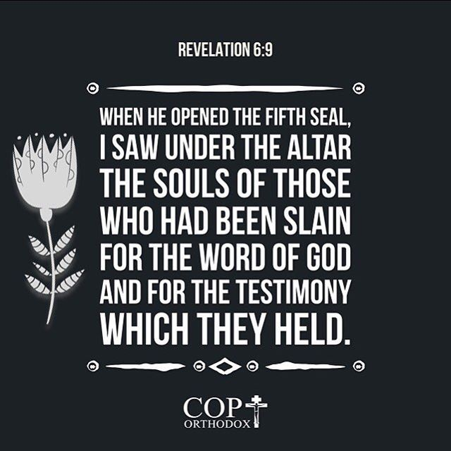 revelation 6:9 when he opened the fifth seal, i saw under