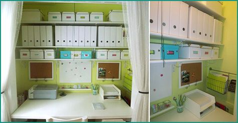 Loads of storage space can be added above the desk.