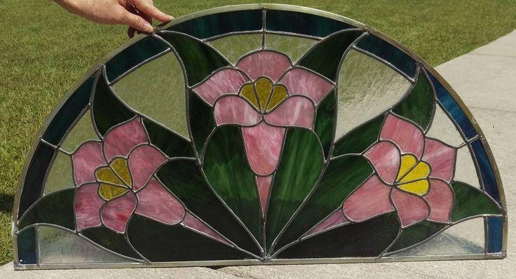 Tulip Half Moon Stained Glass Window Panel by SunshineSuncatchers on Etsy