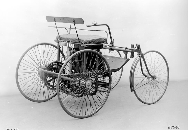 1889: Daimler wire-wheel car delights Paris  --- At the Paris World Exposition, at which a Benz Patent Motor Car is also exhibited, Daimler and Maybach present their V-engine and the motorised quadricycle (the wire-wheel car). This heralds the birth of the French automobile industry. The wire-wheel car is equipped with the four-speed, gear-only transmission invented by Maybach.   ==>  https://de.pinterest.com/duanechapman/cool-cars-motorcycles-other-transportation/