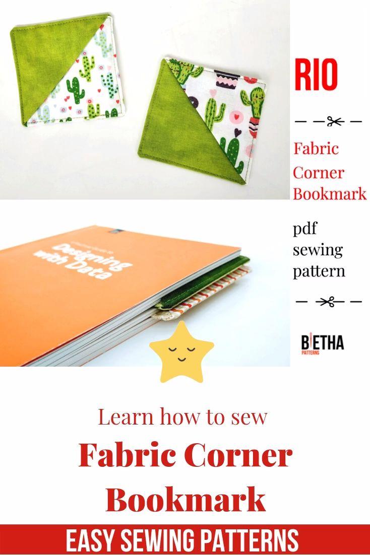 Fabric corner bookmark sewing pattern pdf origami bookmark