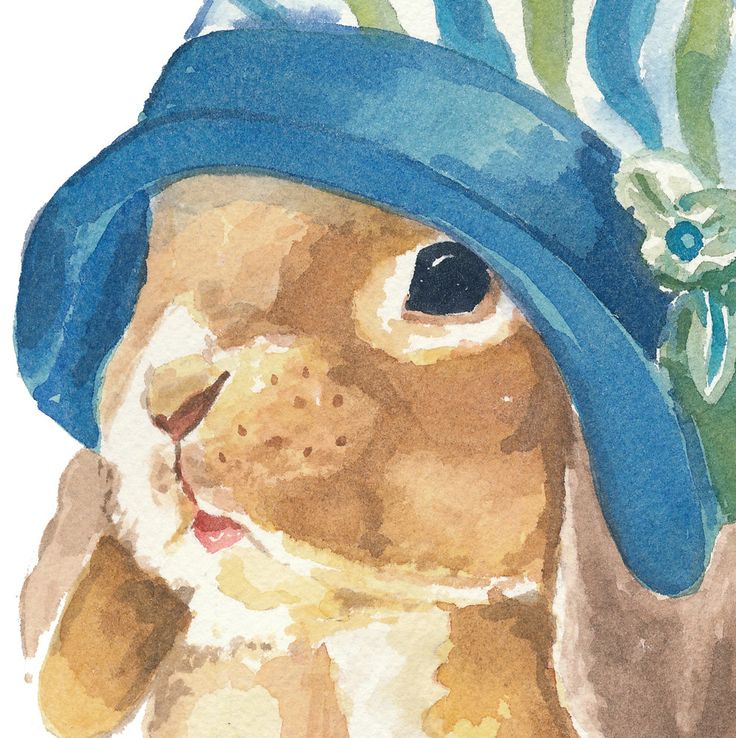Rabbit Watercolor ~ Bunny in a Cloche Hat ~ Original Watercolor Painting via Etsy