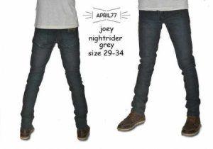 APRIL77 JOEY DRUGSTORE NIGHTRIDER GREY  harga eceran : Rp. 160.000 / celana (1 -2 pcs) harga grosir Rp 140.000 /celana (3 pcs atau lebih) belum termasuk ongkir belum termasuk ongkir  APRIL77 JOEY DRUGSTORE NIGHTRIDER GREY BY RIANSHOP:  Bahan denim jeans Ukuran 29-34 Kualitas kw super APRIL77 JOEY DRUGSTORE NIGHTRIDER GREY  Pemesanan via SMS format sebagai berikut:  Nama | Alamat Lengkap | Produk Yang Dipesan | Jumlah Pesanan  kirim ke 085701111960