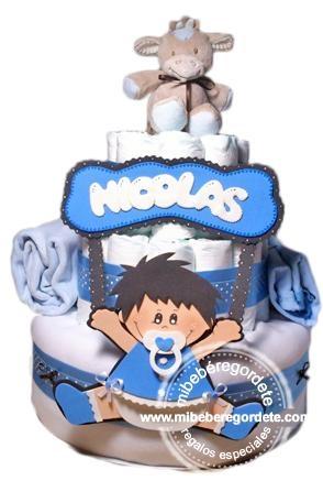Regalo Personalizado y a Medida - Tarta de Pañales para Nicolás.  #regalosbebes #tartasdepañales #canastillaoriginal
