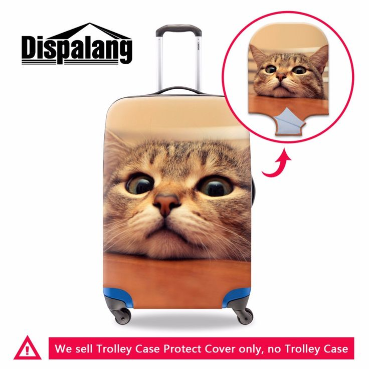 trolley luggage covers,cut cat printing spandex elastic polyester travel luggage cover for girls,apply to18-30 inch