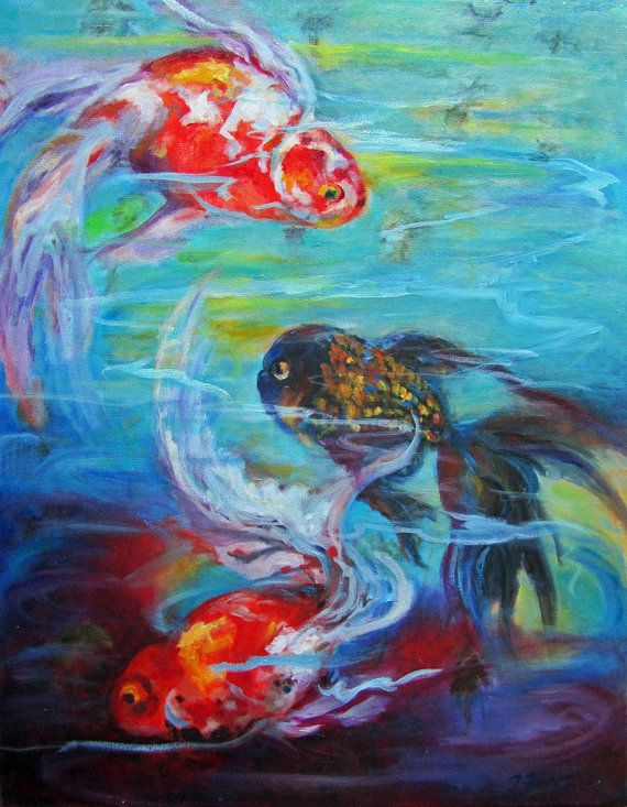 Gold Fish  Original Oil Painting on 18x24 on by ingridspaintings, $285.00