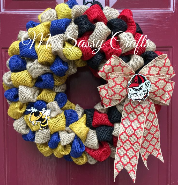 House Divided Wreath - Burlap Wreath - Georgia Bulldogs Wreath - Georgia Tech…