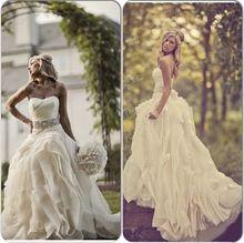 Vestido De Casamento Outdoor Country Western Wedding Dresses 2015 Vintage Strapless Wedding Dress With Crystal Sash Bridal Gowns