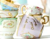 Custom listing for Theresa-Vintage Tea Cup Seating Chart Wedding Escort Seating tags Favors. %s%.20, via Etsy.