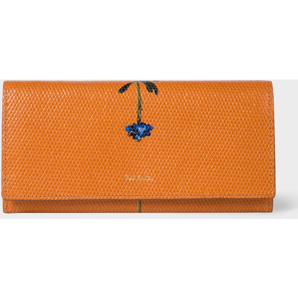 Paul Smith Women's Tan 'Flower Stem' Print Leather Tri-Fold Purse ($335) ❤ liked on Polyvore featuring bags, wallets, leather coin wallet, leather snap wallet, leather trifold wallet, zipper wallet and tri fold wallet