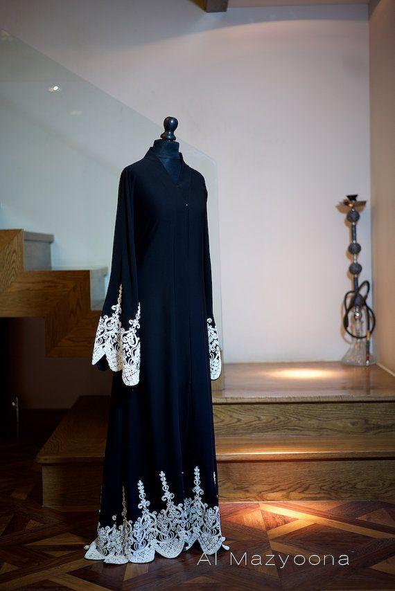 Al Mazyoona Black White Tapework Abaya Dubai Arabic Jalabiya Khaleeji Kaftan Maxi $272.25