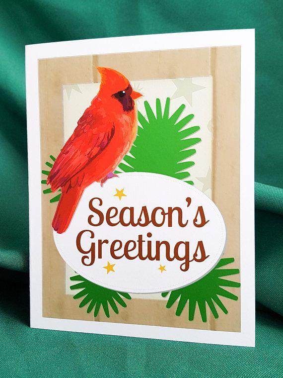New printable cardinal Christmas card by Purple Pony Art.