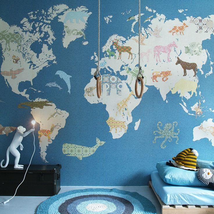 Fancy Tapetenwandbild uXL Weltkarte u blau beige xcm