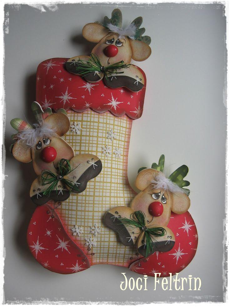 Bota navideña con renos de foamy