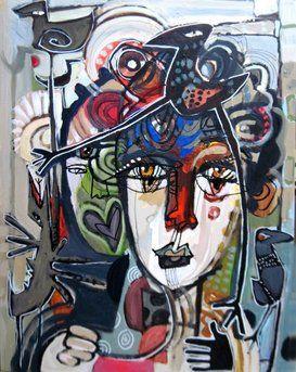 Frederic Bonin-Pissarro Modern Face Art - FREDERIC BONIN-PISSARRO ORIGINAL ART GALLERY