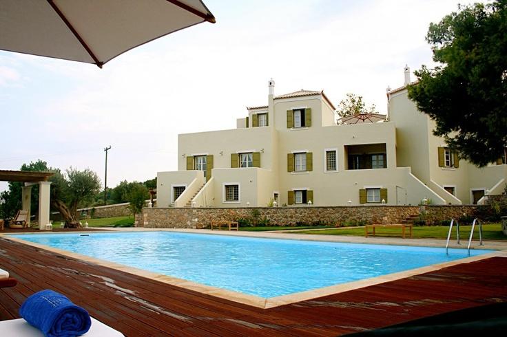 Xenon Estate villas in Spetses - 17m x 9m swimming pool and part of the resort's 3 villas.  www.xenonestate.gr