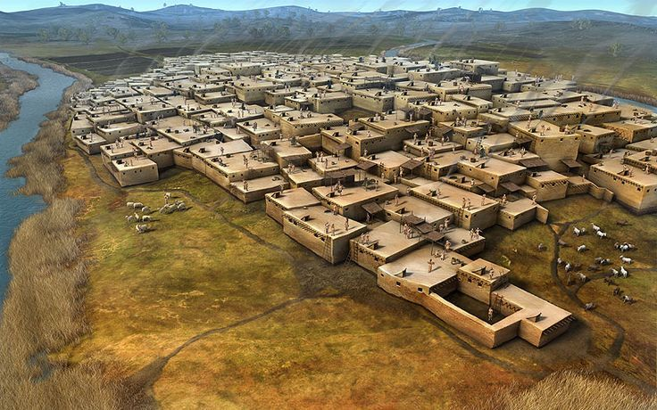 CATALHÖYÜK - ANATOLIA (Turkey) - 7500 /  5700 BC : very large Neolithic settlement considered as the first city in the world populated by aproximatively 7 000 people. No footpaths were used between the dwellings : the inhabitants lived in brick houses that were built close together, only accessible by the ceilings  which also served as the only source of ventilation.  Çatalhöyük was categorized as a city since inhabitants used to bury their dead in the settlement.