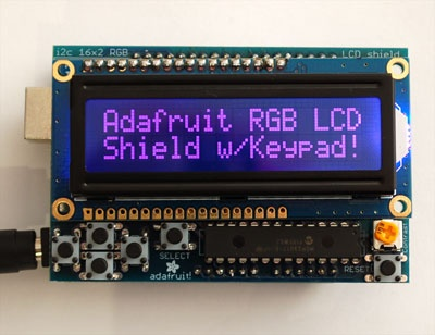 RGB LCD Shield Kit w/ 16x2 Character Display - Only 2 pins used! - NEGATIVE DISPLAY.