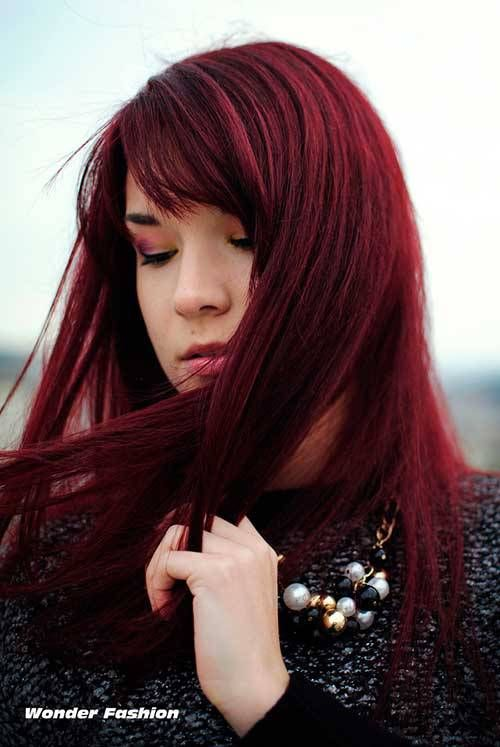 Dark red colored long hair pictures that you love