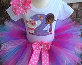 So Affordable Doc McStuffins and Lambie Birthday Tutu Outfit Dress Set Handmade