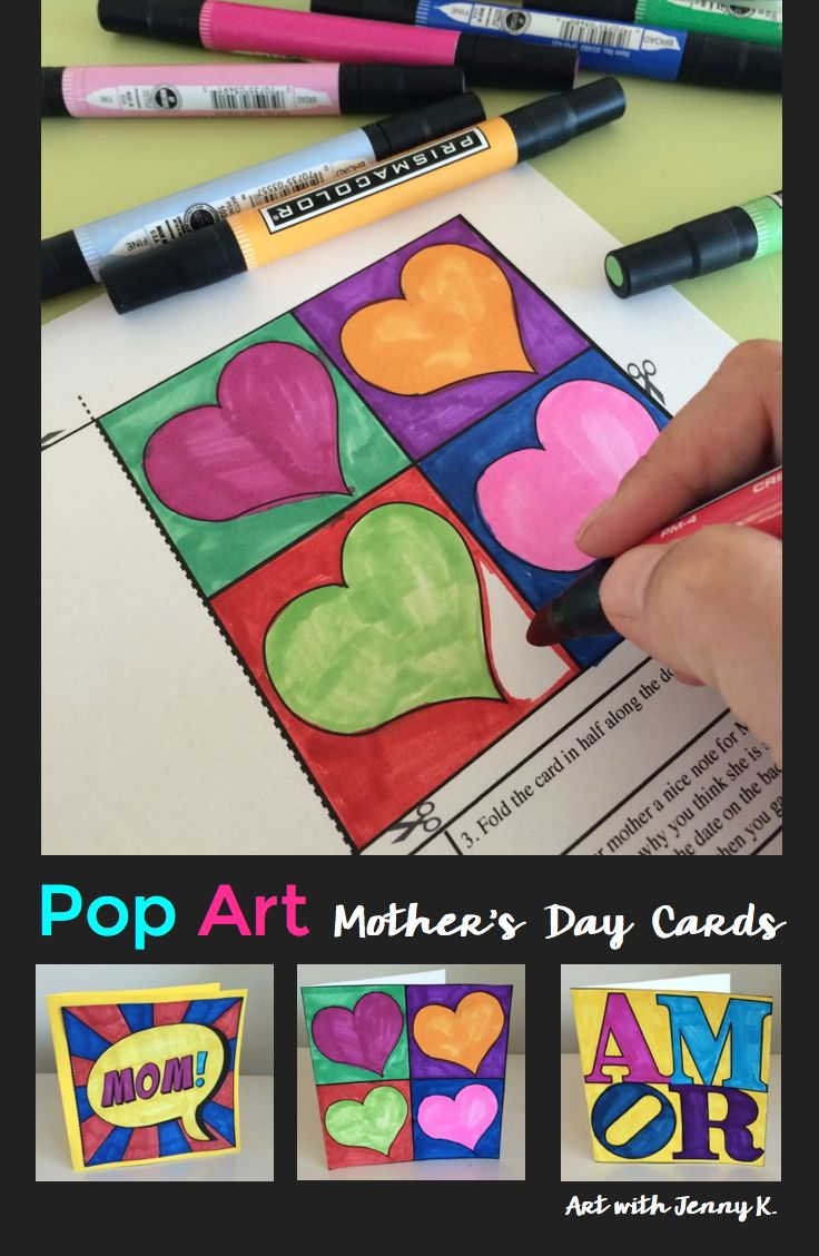 Making your own Mother's day cards has never been easier (for the teacher) or more fun (for the kids)! Use 12 template designs to inspire your students to make striking artsy cards for this Mother's day--inspired by Pop Artists like Warhol and Haring!