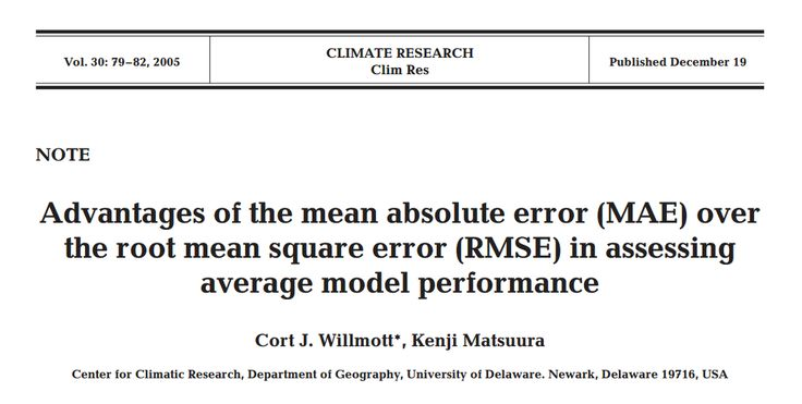 Advantages of the mean absolute error (MAE) over the root mean square error (RMSE) in assessing average model performance