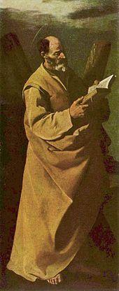 Francisco de Zurbarán - San Andrés 1630-1632, (146 x 60 cm.), Magyar Szépmüvészeti Múzeum Budapest #350Zurbarán