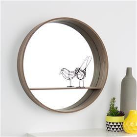 Round Mirror with Shelf