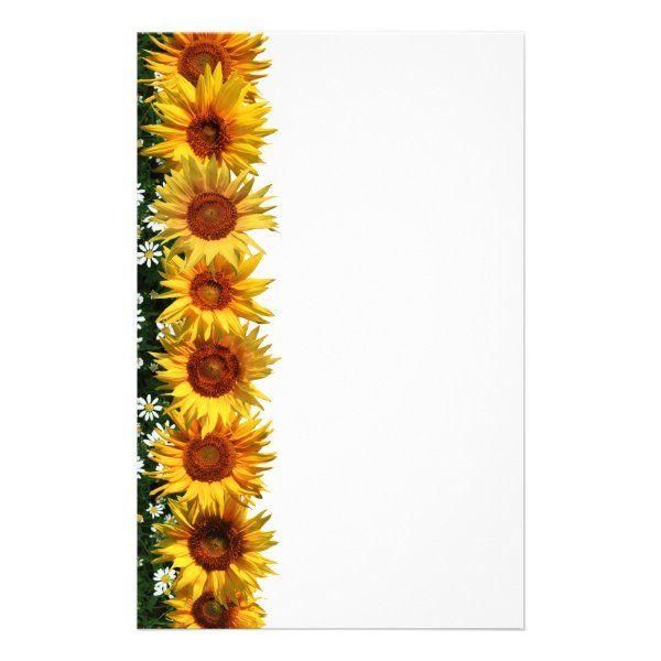 Sunflower Border Stationery Zazzle Com In 2021 Flower Art Flower Border Sunflower Party Themes