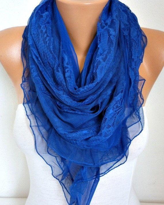 Royal Blue Lace Scarf Shawl  Hanukkah Gift Bridal by fatwoman