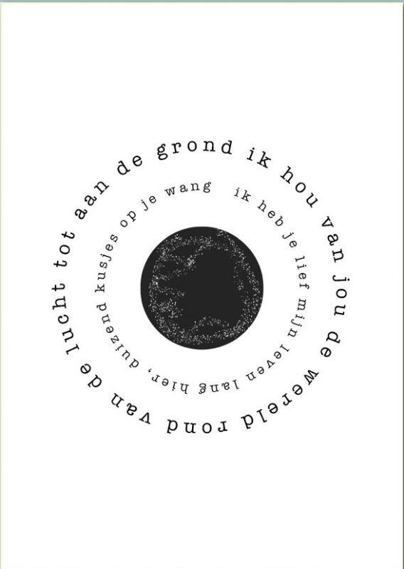 Gedicht poster: Wereld A3. Gedicht op poster. Ik hou van jou de wereld rond... Plak hem boven een bed(je) of lijst hem in. De poster is een A3 formaat.