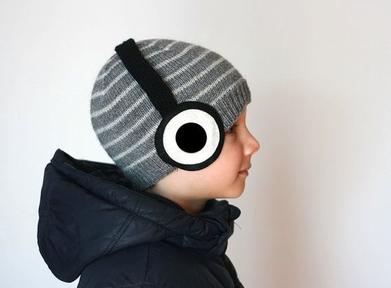 Headphones knitted hat for kids with the stripes in dark grey and light grey color, in wool alpaca blend