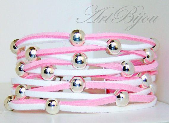 Leather Bracelet Suede Bracelet Zamak Bracelet by ArtBijouStore