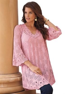 V-neck Pointelle Sweater by Denim 24/7   Plus Size Valentine's Day Boutique   Roamans