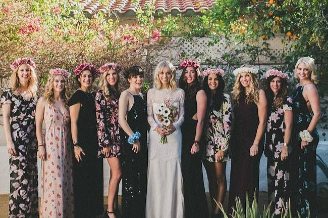 Bridesmaids. Not black or dark but in neutral colors. mix matched and floral