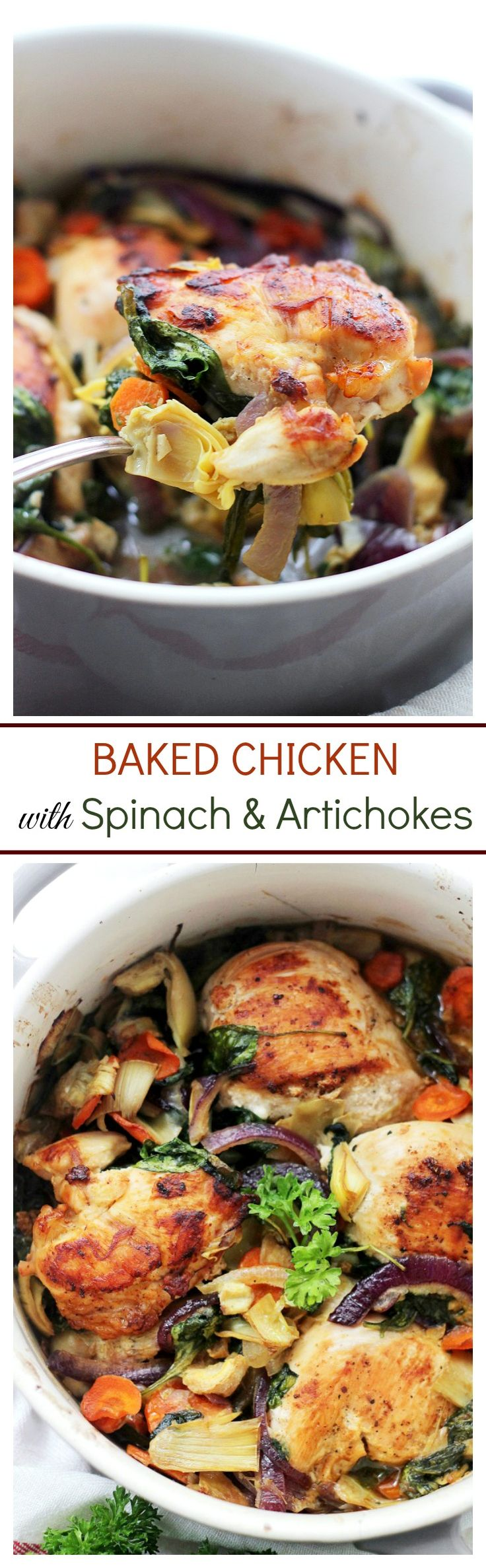 Baked Chicken with Spinach and Artichokes – Chicken, spinach and artichokes come together in this delicious, one-pot recipe.