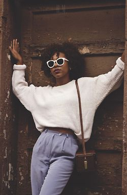 chicago fashion afrocentric black fashion curlyhair natural hair beautiful women black love white sweater blackgirlsrock north side blackgirls blackgirlsrpretty2 blue pants lakeview thehmpress dirtyblossom dentalhygene